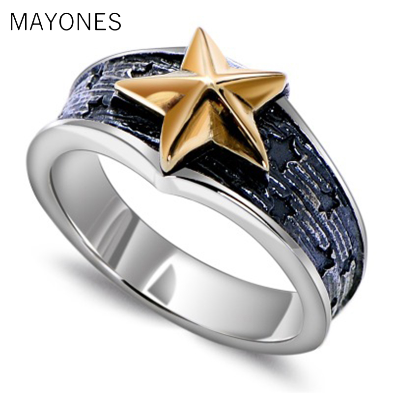 925 Sterling Silver Gold Color Star 7mm Small Ring for Men Women Vintage Punk Rock Retro Silver Jewelry Men Accessories