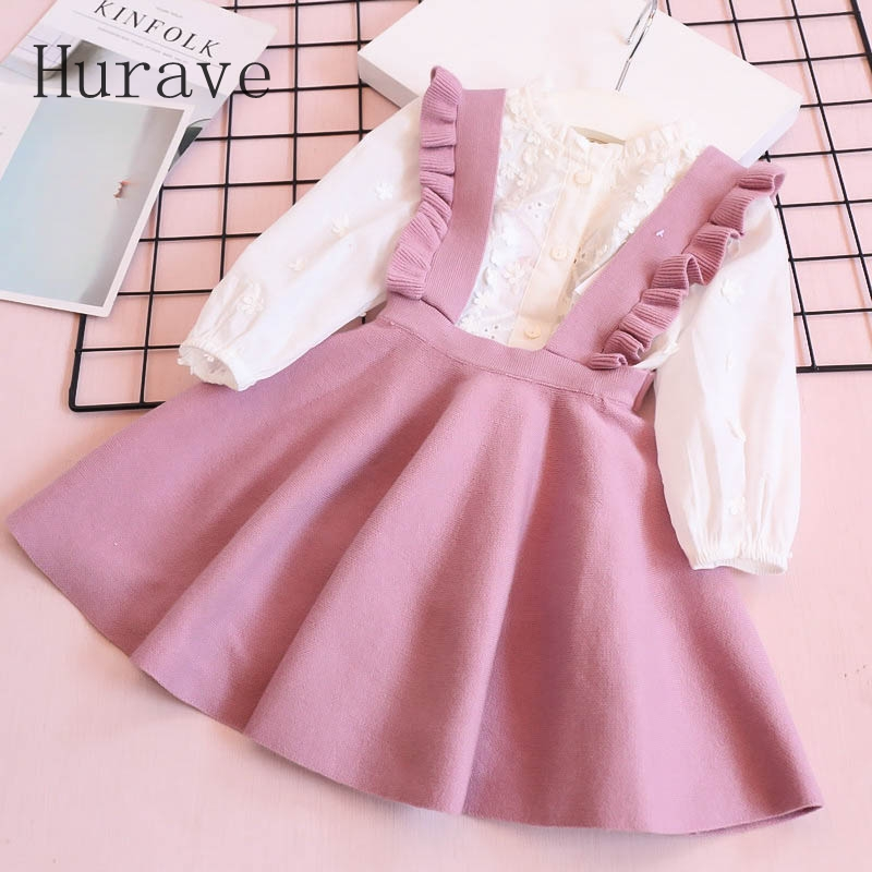 Hurave Autumn 2018 Girl Dress For Toddler Children Clothing Beautiful Knitted Ruffles Infantil Clothes C19L4 цена