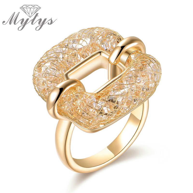 Mytys Square Ring Crystal Wire Mesh Net Hollow Ring til Women Fashion Trendy Smykker Tilbehør R1218