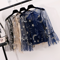 2018 Summer Spring New Embroidery Lace Bow Bronzing Europe Flare Sleeve Two Piece Blouse Shirts Women
