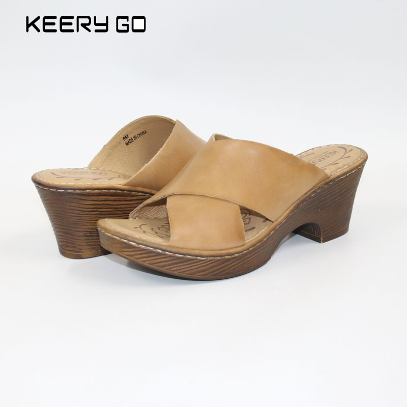keerygo new high-end leather, comfortable feet sandals, classic sandals Cowhide women's slippers Handmade women's shoes кисть грааль кхб 5 белка художественная 5