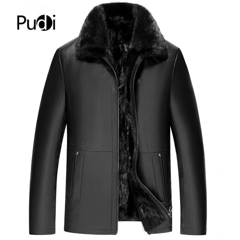 Pudi MT916 2019 Новая модная мужская куртка из натуральной овечьей кожи с подмигивающим мехом внутри куртка из натурального меха зимнее теплое пальто верхняя одежда