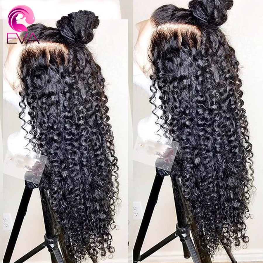 Eva Hair 360 Lace Frontal Human Hair Wigs Kinky Curly With Baby Hair Pre Plucked Glueless Brazilian Remy Hair Wigs For Women