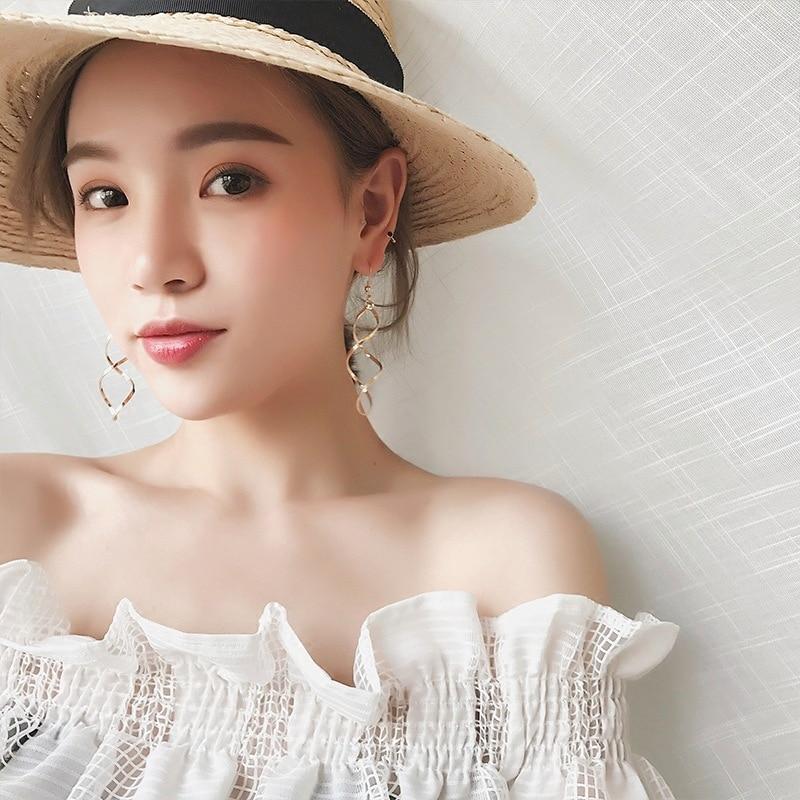E0247 Fashion Double Loop Drop Earrings For Women Long Wave Dangle Earrings High Quality Statement Wedding Jewelry Wholesale 3