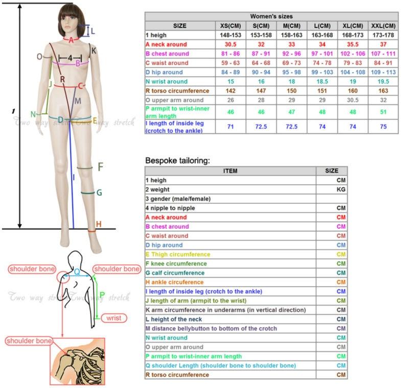 LT-001 Size chart