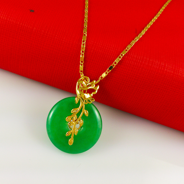 Fashion jewelry 24k gold necklaces pendants classic womens lesf fashion jewelry 24k gold necklaces pendants classic womens lesf and round jade pendant necklaces mozeypictures