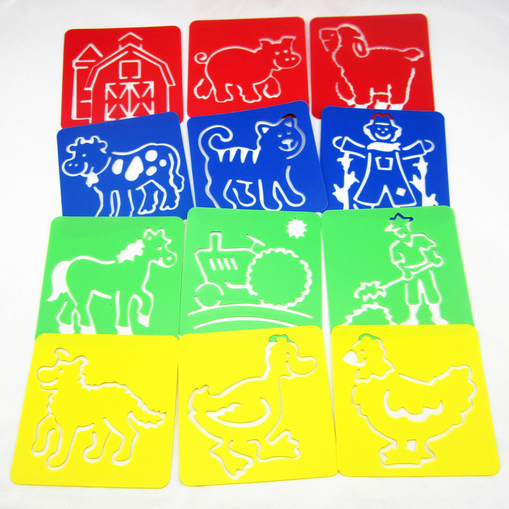 12Designs / set Stencils para pintar Crianças modelos de desenho de fazenda Placas de plástico Brinquedos quentes do bebê para crianças Washable128x128x0.6mm