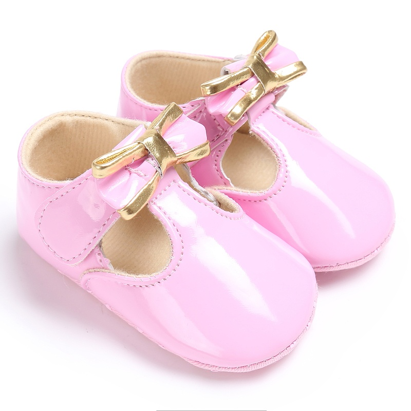 PU Leather Newborn Baby Girls Princess Shoes First Walkers Soft Soled Shoes 0-18M