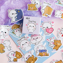 45Pcs/box Cute bear Mini Paper Decoration DIY Scrapbook Notebook Album Sticker Stationery Kawaii Girl Sticker 50pcs box travel building decoration stickers mini paper decoration diy scrapbook notebook album sticker stationery girl sticke