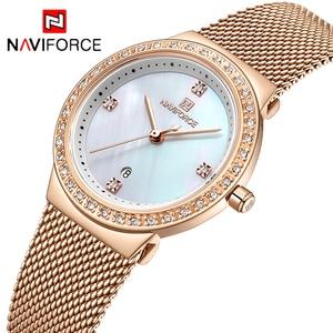 Image 2 - NAVIFORCE מותג יוקרה שעון נשים אופנה שמלת קוורץ שעון יד גבירותיי נירוסטה עמיד למים שעונים Relogio Feminino