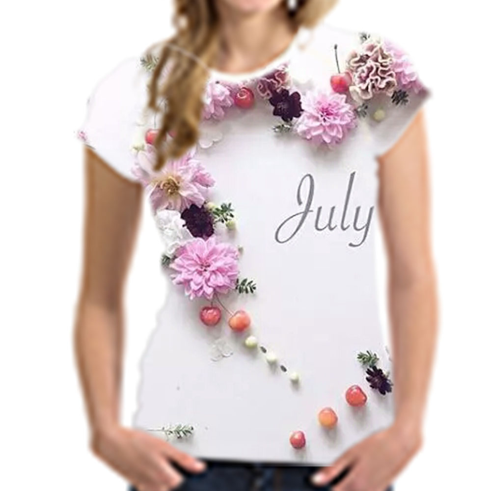Noisy Designs Wome Causal T Shirt Leaves Floral Letter Printed Elastic Wholesale Short Sleeve Summer T Shirt S-XXL