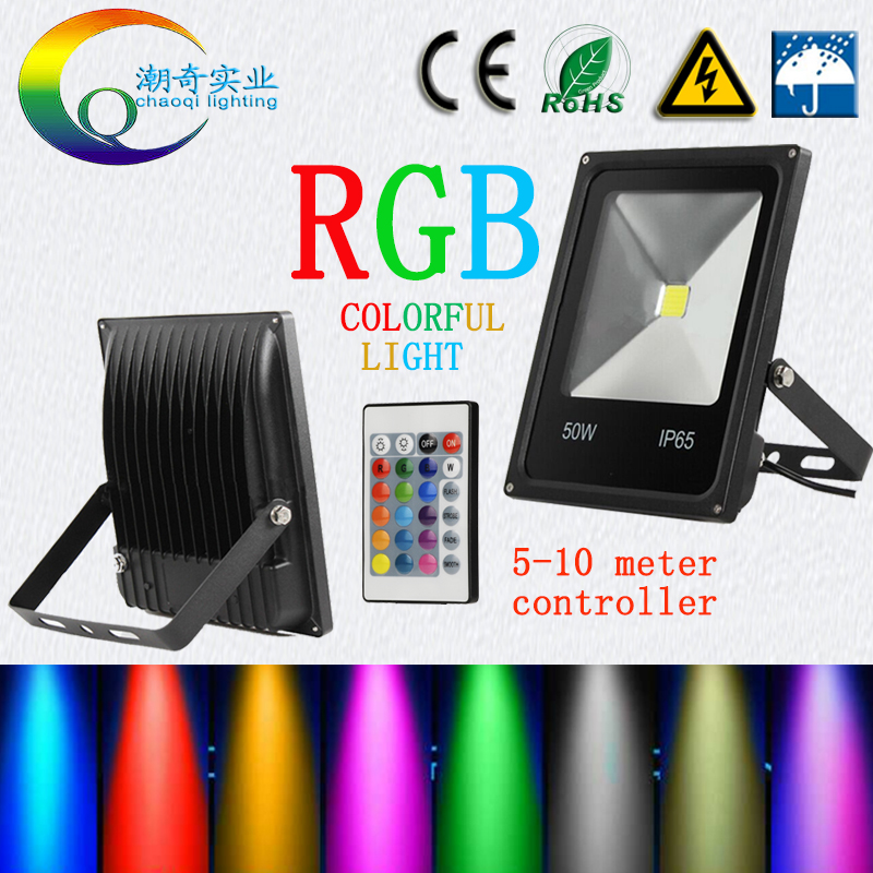 RGB LED Flood Light WaterProof 20W 30W 50W 100W 220V 110V colorful remote controlle Outdoor Wall Lamp Garden Projector AC12V24V