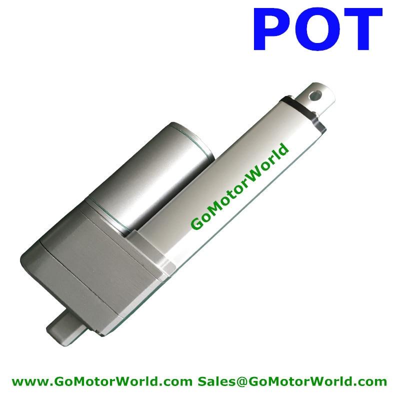 цена на 12V 100mm stroke 10mm/s speed 1000N 100KG load Waterproof DC linear actuator with Potentiometer POT signal feedback
