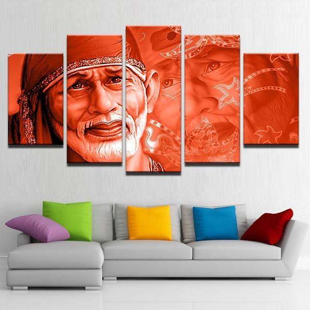 Framed 5 pcs HD Print shirdi Sai Baba painting canvas wall art ...