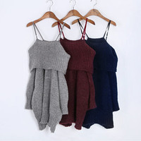 Winter Off Shoulder Sweater Women Loose Sexy Strapless Pullover Knitted Maxi Dress Womens Sweaters Pull Autumn Pullovers C2694