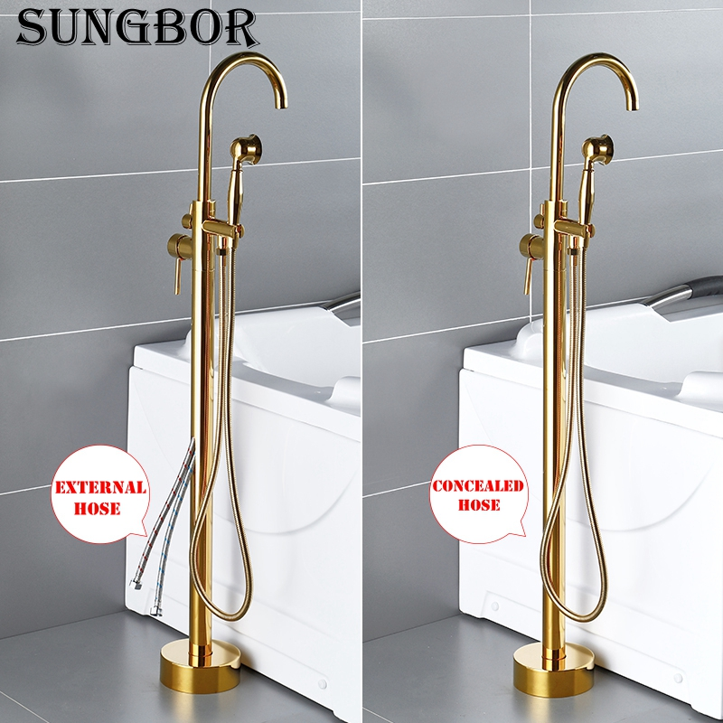Bathtub Faucet Gold Round Spout Single Handle Mixer Water Taps Bathroom Bath Hand Shower Floor Mounted