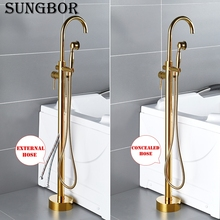 Bathtub Faucet Gold Round Spout Single Handle Mixer Water Taps Bathroom Bath Hand Shower Floor Mounted Tub Faucet Set HD-2678K1 3 6