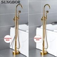Bathtub Faucet Gold Round Spout Single Handle Mixer Water Taps Bathroom Bath Hand Shower Floor Mounted Tub Faucet Set HD 2678K1