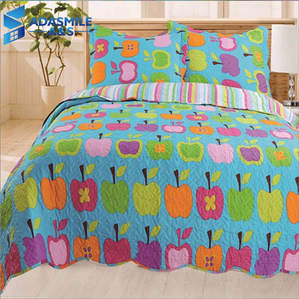 100% Waar 3 Pcs Cartoon Kleurrijke Fruit Kids Bed Cover Set Warme Comfortabele Kussenslopen Matrashoes Volwassenen Gewatteerde Spreien 230*250 Cm Met De Beste Service