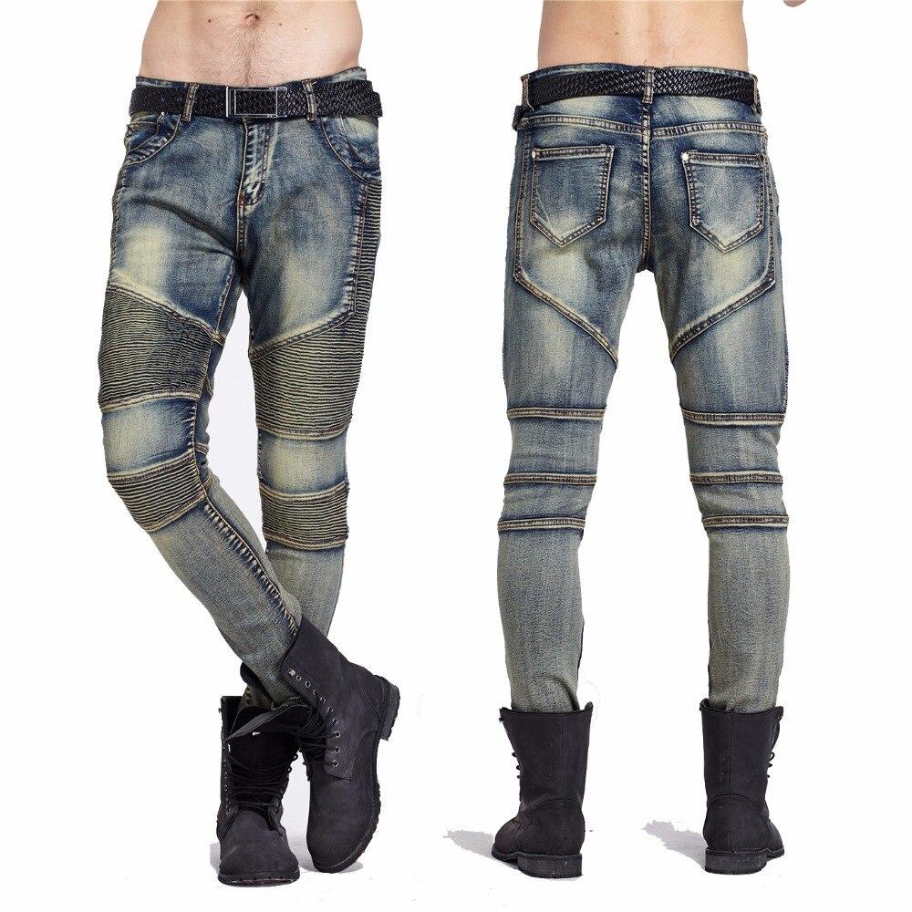 2d745174a5a9 Moomphya Mens Dünne jeans männer Runway Distressed dünne elastische jeans  denim Biker jeans hip hop hosen Gewaschen Plissee jeans blau in Moomphya  Mens ...
