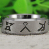 Free Shipping USA UK Canada Russia Brazil Hot Sales 8MM Shiny Silver Bevel Stargate Design Men