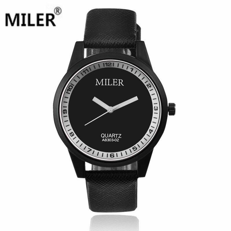 e4a3b4b6dedb Moda relojes reloj de cuarzo marca Miler hombres mujer reloj cuero reloj  caliente del brife elegante reloj de las mujeres horas