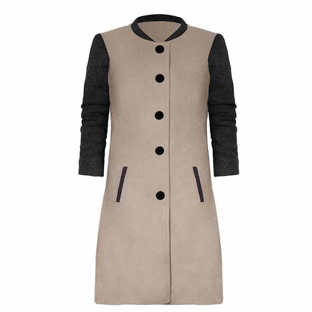 2018 New Spring Autumn Coat Long Sleeve Two Color Patchwork Jacket Buttons Long Coat Slim StreetWear Female Outwears Woolen Coat