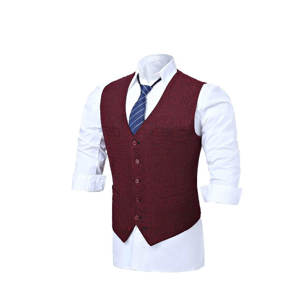 Red wool blended herringbone tweed vest Slim mens suit vest custom sleeveless jacket mens wedding vest