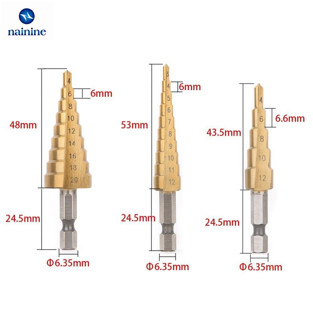 Nainine 3Pcs/Set 3-12mm 4-12mm 4-20mm HSS Titanium Step Drill Bit Set Wood Drilling Power Tools NHT17 drillpro 1pc 3 13mm hss titanium coated stepped drill bit power tools carbide core drill bit set wood drilling hot sale