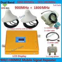 LCD Display GSM Repeater 1800 900 , GSM 4G LTE FDD Dual Band Repeater 65dB GSM DCS Cellular amplifier Cell Phone Signal Booster