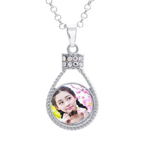 Image 4 - button necklaces pendants for dye sublimation zircon necklaces pendant jewelry for women heat transfer printing blank consumable