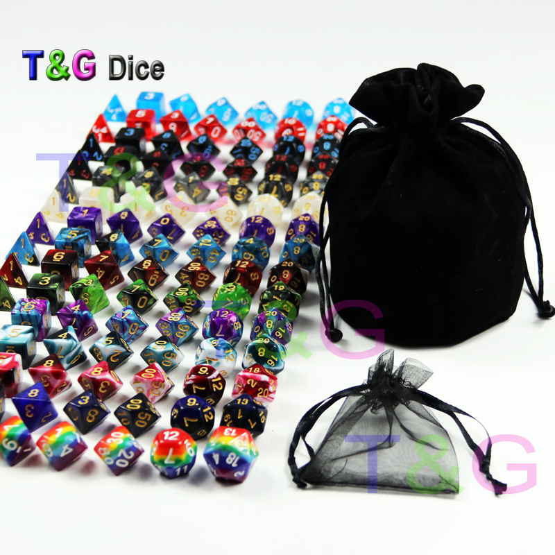 105pcs Assorted Polyhedral Dice with Plus Pouch,T&G Rainbow Dice 15 sets of D4 D6 D8 D10 D10% D12 D20 for RPG DND Board Game игра мозаика с аппликацией медовая сказка d10 d15 d20 105 5 цв 6 аппл 2 поля