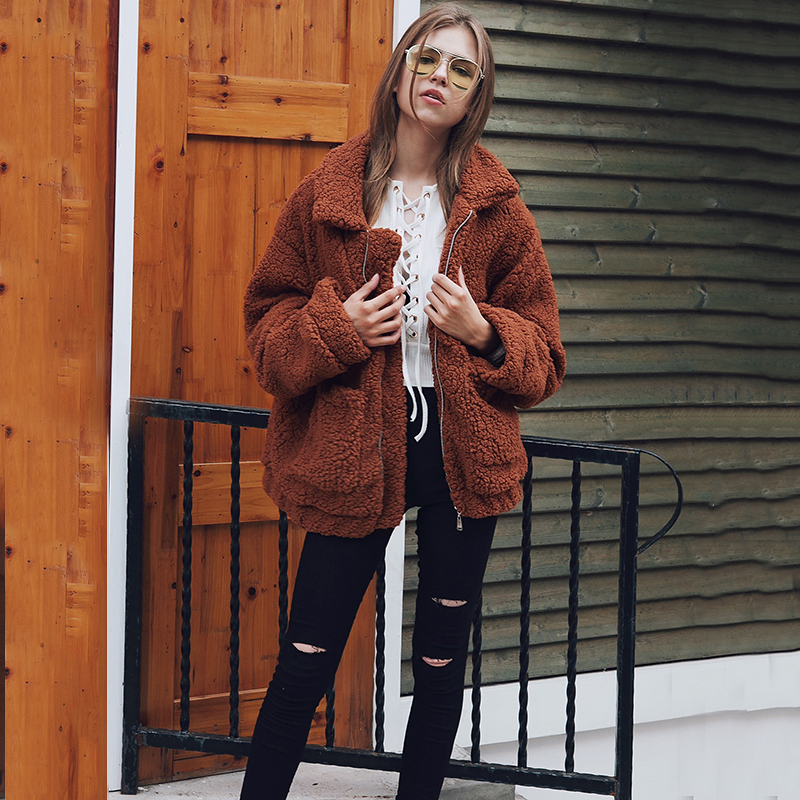 Winter   Jacket   Women Oversized Soft Faux Fur Autumn   Basic     Jackets   Female Coat Loose Casual Outerwear Plus Size 2XL KKDR81