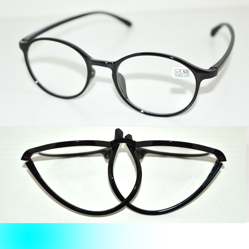 five pairs black tr90 bendable folding strechable large framed fashion women reading glasses