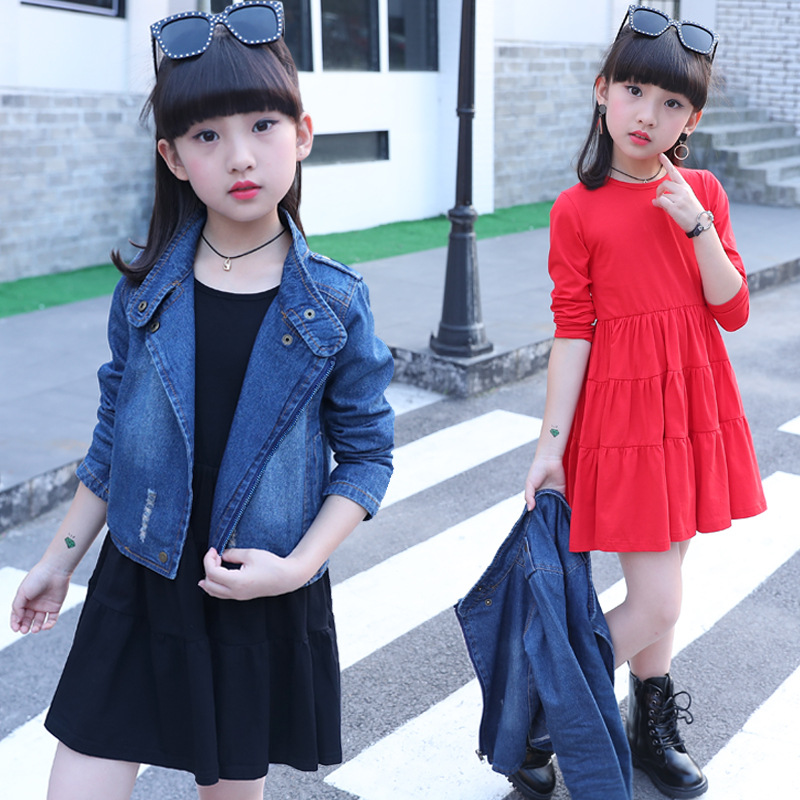 Toddler Girls Sets Solid Cotton Dresses + Denim Jackets 2PC Baby Kids Clothes suits Fashion Children Outwear for 6 8 10 12 Years