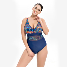 Sexy Deep V Plus Size Swimwear 2018 New Printed Mesh One Pie