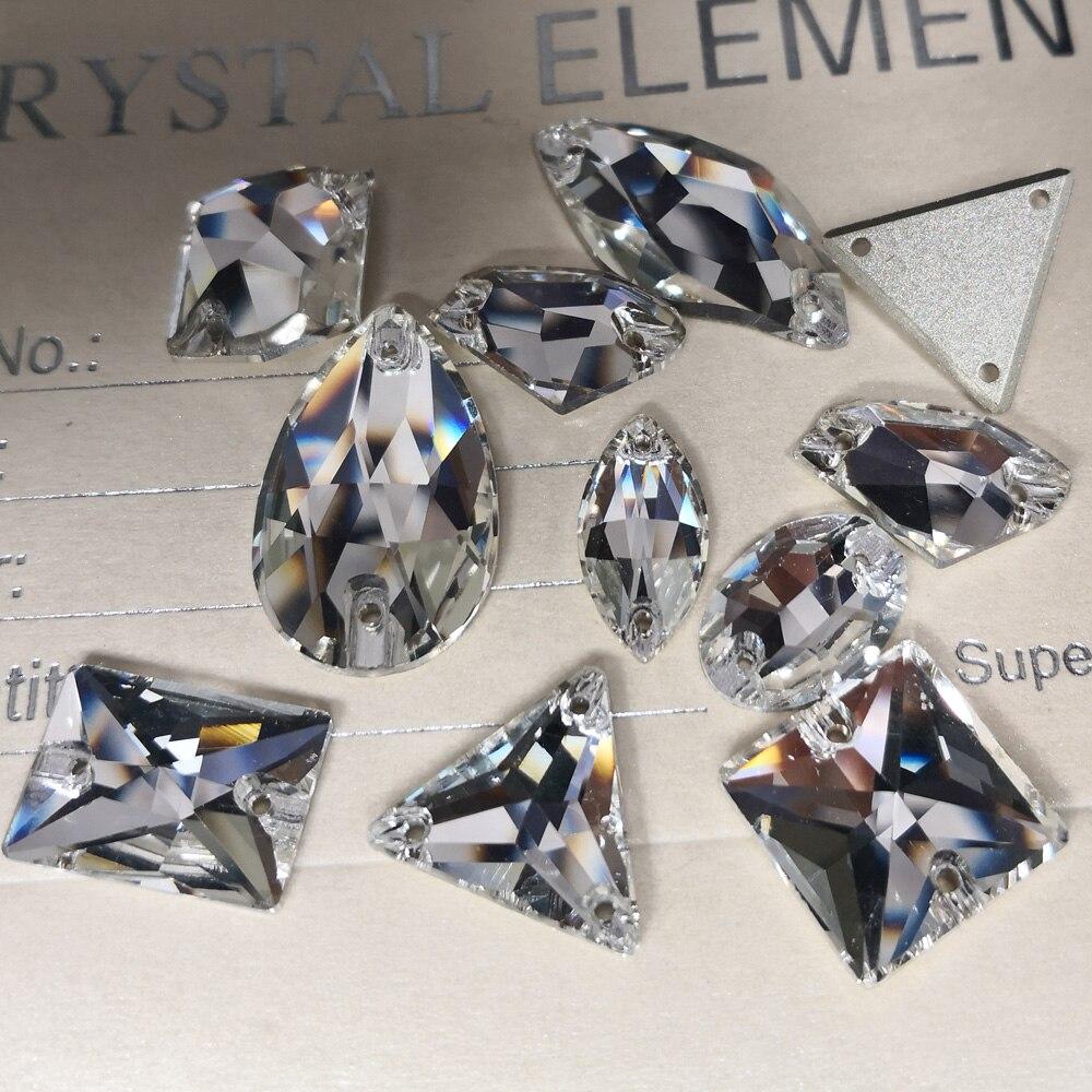 Rivoli Tropfen Nähen Auf Kristall Klar Strass DIY 2 Löcher Spiegel Strass Glas Nähen Stein Nähen Textil Strass Für Bekleidungs