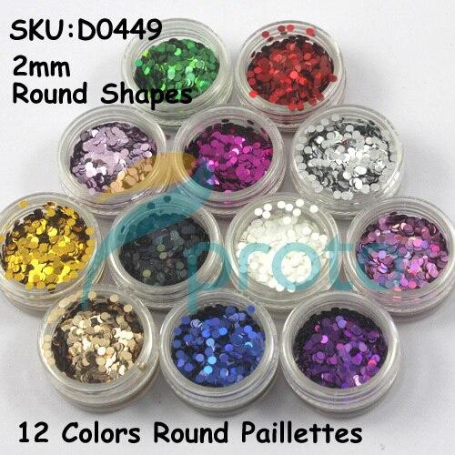 12 Colors 2mm Round Paillette 3D Nail Art Circle Shapes Glitter Decoration Set False Nail Decorations Dropshipping SKU:D0449