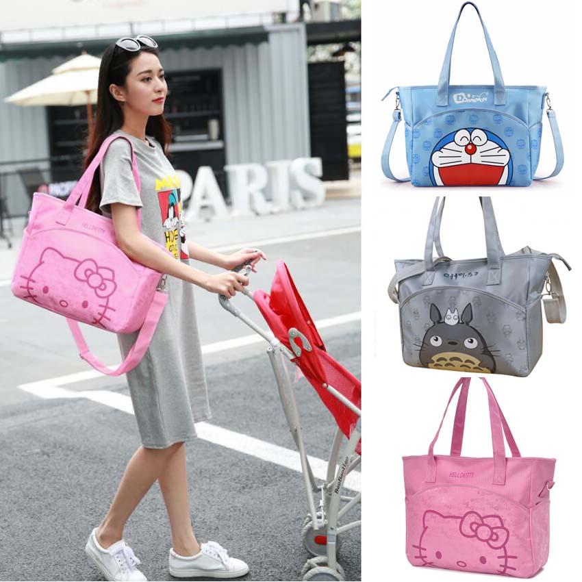 31*37*14 cm Canvas Baby Diaper Bag For Mom Mummy Mother Hello Kitty Maternity Nappy Bags Thermal Insulation Stroller Bag thermal insulation baby diaper bag for stroller waterproof nappy changing bags mommy stroller cart bag cooler bag for mom
