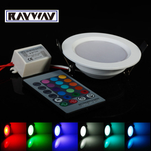 Ultrathin 5W 10W  RGB 24 ColorsTube Lamps LED Ceiling Panel Down Light Lamps Round Shape with Remote Controller