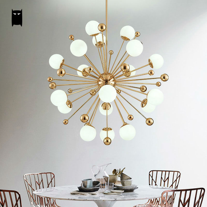 Gold Iron Glass Ball Sphere Globe Dandelion Chandelier Fixture Contemporary Hang Light Lamp Lustre Avize Luminaria Living Room