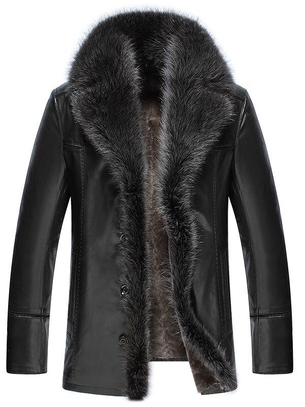 Homens de Colarinho Falso Jaquetas De Couro do Inverno da Pele do falso Engrossar Casaco chaqueta jaqueta de couro PU homens jaqueta de Couro