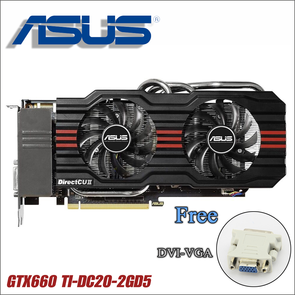 Б/у Оригинал Видеокарта ASUS GTX 660 Ti 2 Гб 192Bit GDDR5 Графика для nVIDIA Geforce GTX660 ti VGA сильнее GTX 750 ti