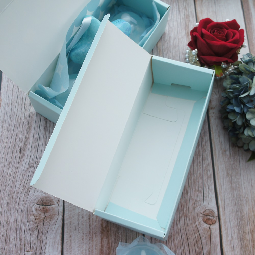 22 5 9 6cm 10pcs blue flower Palm leaves design Paper Box cookie Chocolate soap candle wedding Birthday Party DIY Gifts Pack in Gift Bags Wrapping Supplies from Home Garden