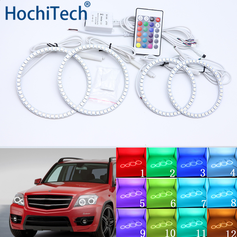 For MERCEDES BENZ GLK CLASS X204 280 300 320 350 2010 2011 2012 Multi color Led Angel Eyes Kit RGB Halo Rings Daytime Light DRL