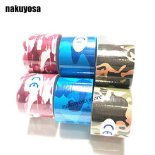 10pcs/lot army camouflage kinesiology tape 5cm*5m cottone elastic adhesive muscle strain injury physical therapy tape