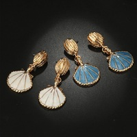 10/20pairs Fancy Gold tone blue/white enamel Seashell/shell Earrings,Seashell Stud Earrings summer jewelry for Women,Girls gift