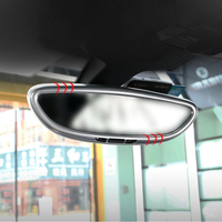 Car styling Inner Rearview mirror Cover frame decoration cover trim strip 3D sticker decals for Porsche Cayenne Macan panamera