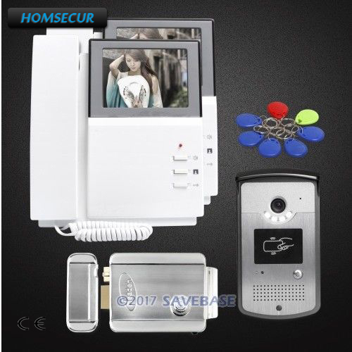 HOMSECUR Hand-Free 4.3inch Wired Video Door Entry Phone Call System With Dual-way Audio Communication + Electric Lock