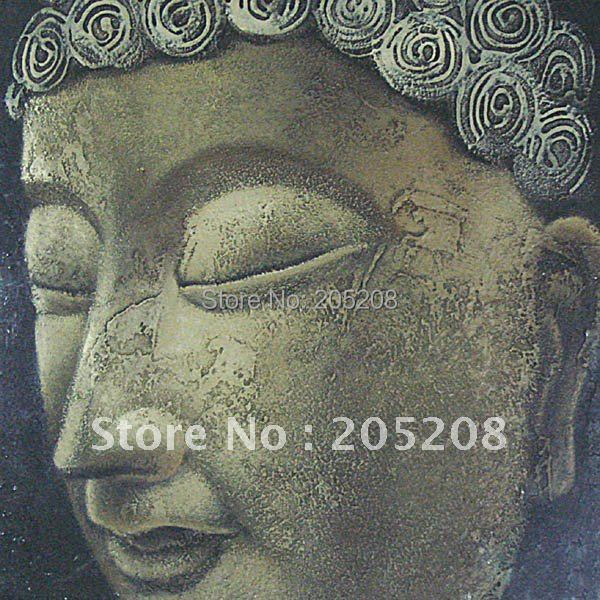 100% Handmade Huge Buddha Painting Canvas Wall Art Picture Feng Shui Home Decoration  YC00009